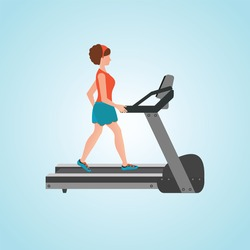 Young adult woman running on treadmill, sport fitness, athletics, healthy lifestyle. Cartoon character Vector illustration.