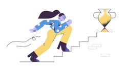 Young adult woman walking up the stairs with golden cup on the top to her goal. Career progression, reaching aim, motivation, aspiration, growth, leadership. Modern vector illustration.