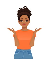 Young afriacan frustrated woman in casual style clothes isolated vector illustration