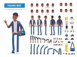 Young  african american  boy or teenager character constructor for animation. Front, side and back view. Flat  cartoon style vector illustration isolated on white background.