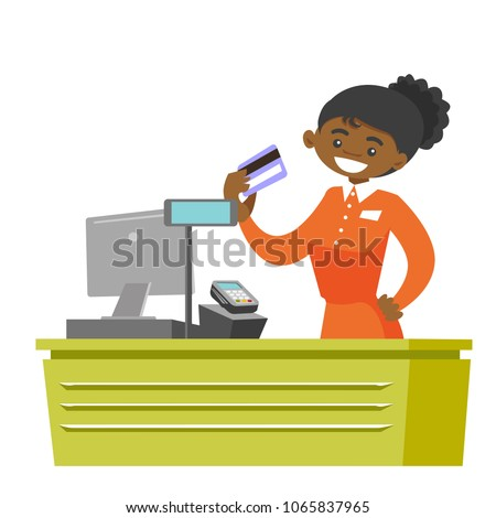 Young african-american cashier holding credit card at the checkout in supermarket. Female cashier working at the cash register. Vector cartoon illustration isolated on white background. Square layout.