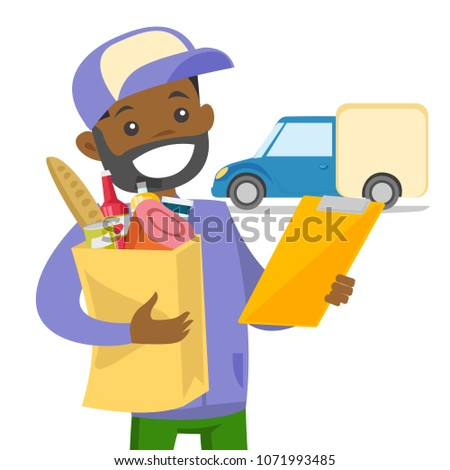 Young african-american delivery courier delivering online grocery shopping order on delivery truck to the home of customer. Vector cartoon illustration isolated on white background. Square layout.