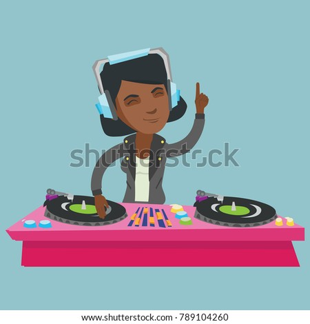 Young african-american DJ mixing music on vinyl turntables. DJ playing the track and mixing music on deck. DJ in headphones at nightclub during party. Vector cartoon illustration. Square layout.