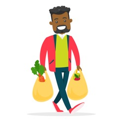 Young african-american man walking with plastic shopping bags with healthy vegetables and fruits. Concept of healthy nutrition. Vector cartoon illustration isolated on white background. Square layout.
