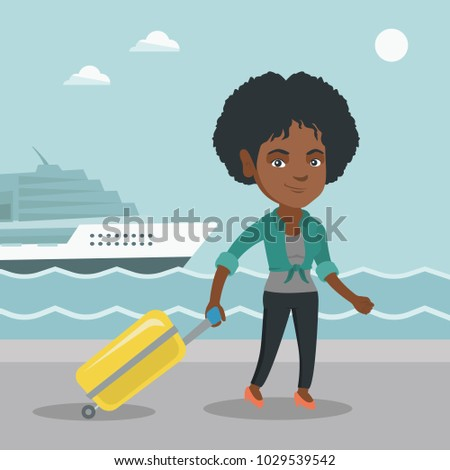 Young african-american passenger walking on the background of cruise liner. Smiling happy passenger with a suitcase goes to a cruise liner along the station. Vector cartoon illustration. Square layout