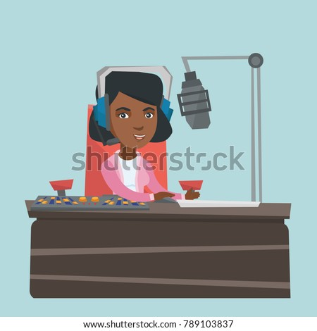 Young african-american radio host working in front of microphone and mixing console at radio studio. Radio host in headset using sound mixer at radio studio. Vector cartoon illustration. Square layout
