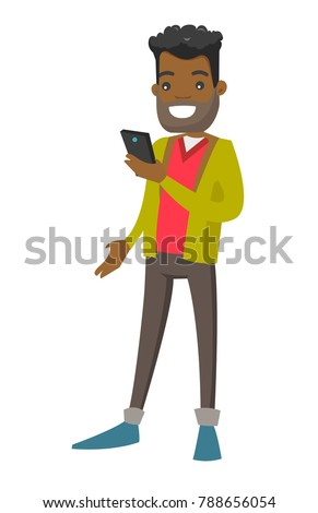 Young African-american white businessman looking at mobile phone screen. Vector cartoon illustration isolated on white background.