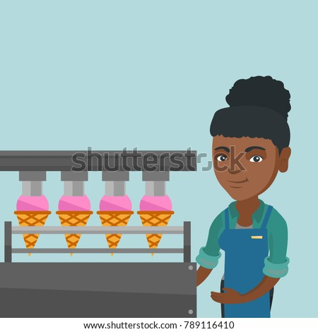 Young african-american woman working on an automatic production line of ice cream. Worker of ice-cream factory controlling the ice cream production process. Vector cartoon illustration. Square layout.