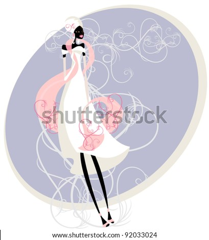 stock vector Young African woman in a wedding dress young fun wedding dress