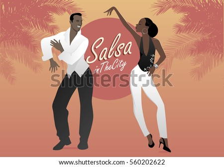 Shutterstock Young afro american couple dancing salsa. Vector illustration.
