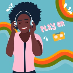Young afro american woman in headphones listening to lovely music and smiling.Let the music play on. Melomaniac, fan. Rainbows on background and lettering.Poster or placard for jazz club,acoustic bar.