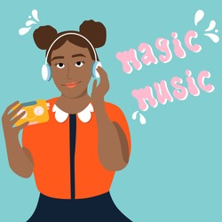 Young afro american woman is listening to music in headphones and enjoy sound.Girl is holding retro audio player with tape inside.Meloman,fan,music lover.Poster for jazz club,store,acoustic bar,fest