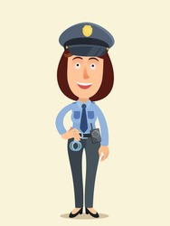 Young and beautiful policewoman. Woman police officer with walkie-talkie and handcuffs at service. Vector illustration, flat design, cartoon style, isolated background.