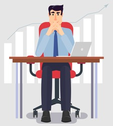 Young and handsome businessman sitting at his desk in the office and ponders the firm's growth plan. Vector illustration in modern flat design. Thinking man concept.