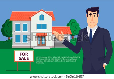Young and handsome real estate agent offers to see the house sold. Investing in real estate, businessman. Vector illustration in modern flat style