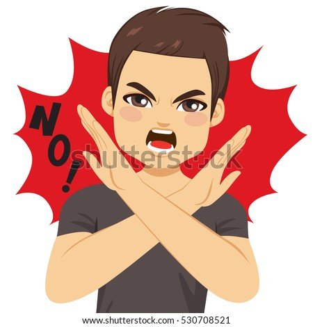 young angry man crossing arms