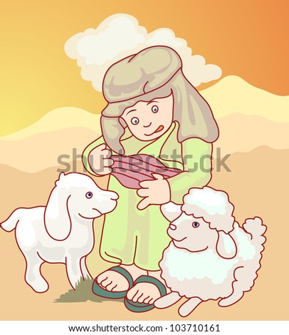 young arab boy playing with his sheep