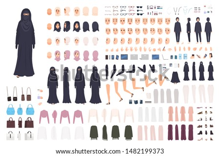 Young Arab woman in burqa constructor set or animation kit. Bundle of female character body parts, emotions, traditional Islamic clothes isolated on white background. Flat cartoon vector illustration.