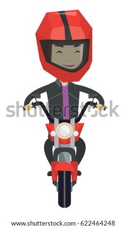 Young asian man in helmet riding a motorcycle. Happy man driving a motorcycle. Front view on a smiling man riding a motorcycle. Vector flat design illustration isolated on white background.