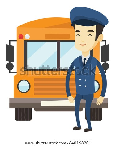 Young asian school bus driver standing in front of yellow bus. Smiling school bus driver in uniform. Cheerful school bus driver. Vector flat design illustration isolated on white background.