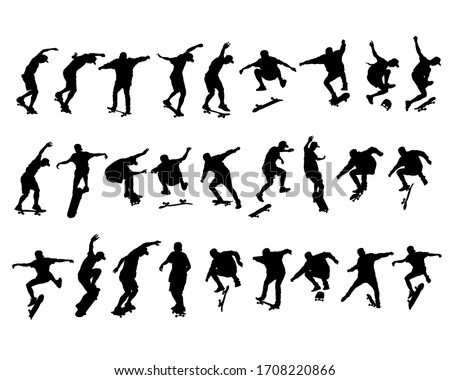 Young athlete on a skateboard. Isolated silhouette on a white background Stock photo ©