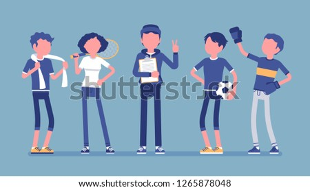 Young athletes, professional sporty people, male coach. Sportsmen and instructor, teaching healthy life, to improve at sport skills, to win, get achievements. Vector illustration, faceless characters