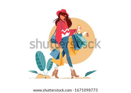 Young attractive fashionable woman holding packages with clothes after shopping. Isolated concept girl character with perfect style. Vector illustration.