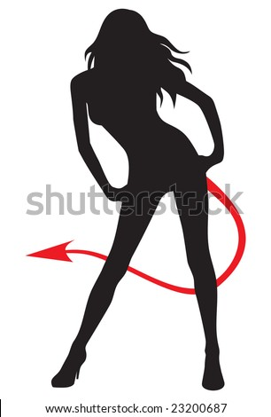 Young attractive woman silhouette with red devil tail.