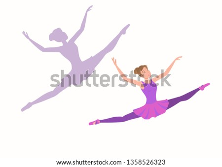 young ballerina flying high and