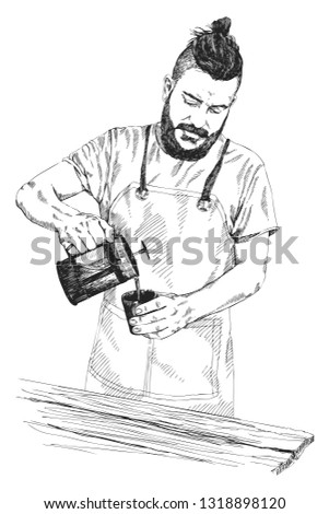 Young barista man in apron with a beard holds a coffee press and pours coffee in a mug. Vector illustration in pencil style. High details sketch. Coffee concept. Restaurant concept.