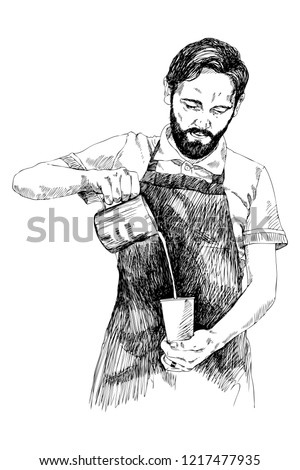 Young barista man. Vector illustration in pencil style. High details sketch of a man in a coffee bar. Coffee concept. Restaurant concept.