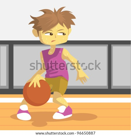 young basketball player on the  court illustration