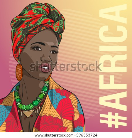 Young beautiful African fashion woman in traditional clothing. Vector illustration