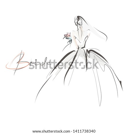 Young beautiful bride in dress. Hand-drawn fashion illustration. Sketch, vector Foto stock ©