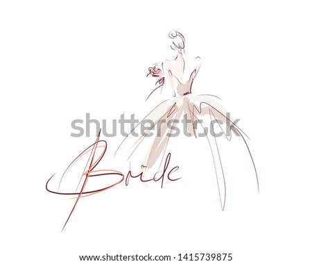 young beautiful bride in dress