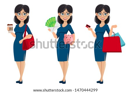 Young beautiful business woman in blue dress, set of three poses. Cute female cartoon character businesswoman holds coffee, holds money and holds credit card and shopping bags. Vector illustration