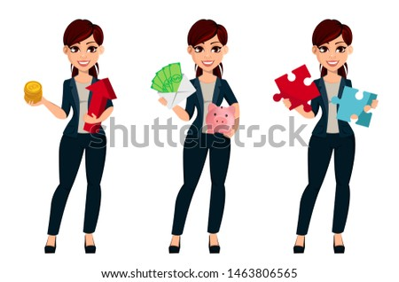 Young beautiful business woman, set of three poses. Cute female cartoon character businesswoman holds bitcoins, holds money and holds puzzle. Vector illustration