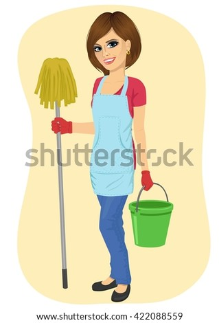 young beautiful cleaning maid