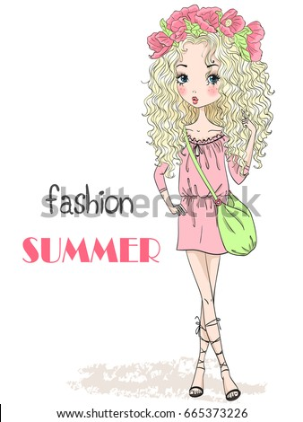 Young, beautiful, cute, romantic blonde curly girl with wreath on her head on the background with inscription fashion summer. Vector illustration.