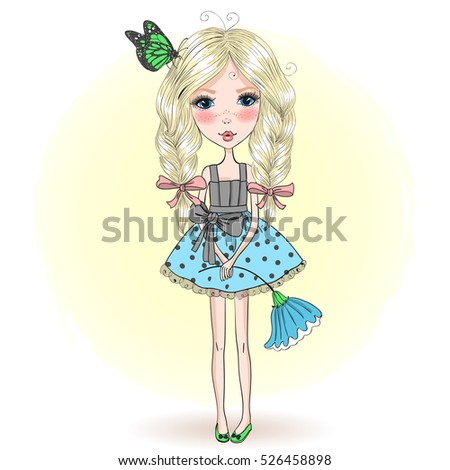 Young, beautiful, cute, sweet girl in a charming dress with butterfly and flower. Vector illustration.