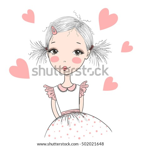 Young, beautiful, cute, sweet girl in a dress. Vector illustration.