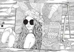 Young beautiful girl in sunglasses and bandana. Deckchair on a beach,  sea. Zentangle style. Black and white doodle coloring book page for adult and children.