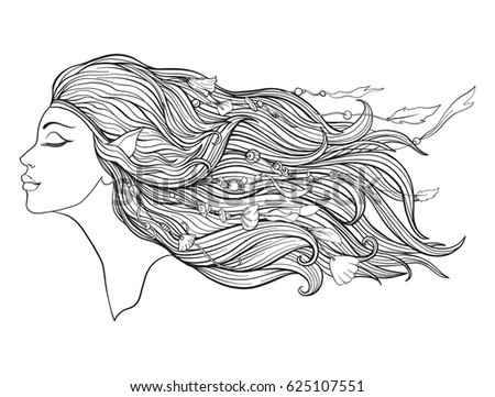 Young Beautiful Girl With Long Hair In Profile With Traditional