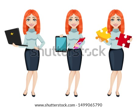 Young beautiful redhead business woman, set of three poses. Cute businesswoman cartoon character holds laptop, holds tablet and holds puzzle. Vector illustration
