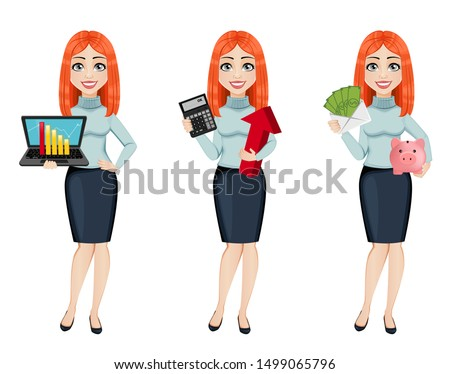 Young beautiful redhead business woman, set of three poses. Cute businesswoman cartoon character holds laptop, holds calculator and holds money and piggy bank. Vector illustration