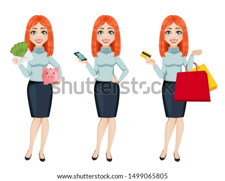 Young beautiful redhead business woman, set of three poses. Cute businesswoman cartoon character holds money, holds smartphone and holds credit card and shopping bags. Vector illustration