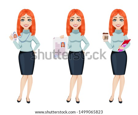 Young beautiful redhead business woman, set of three poses. Cute businesswoman cartoon character holds badge, holds resume and holds coffee. Vector illustration