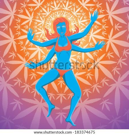 young beautiful woman dances