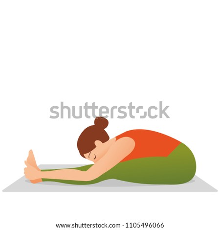 young beautiful woman doing stretching exercise on yoga