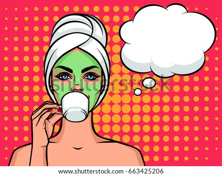 Young beautiful woman European type with towel on her head and mask on her face. Relaxing girl with cup of tea or coffee and speech bubble over halftone background effect